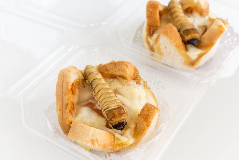 食物昆虫:油炸的蠕虫甲虫当在面包的食品项目 免版税图库摄影