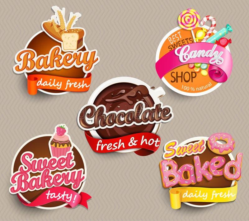 食物标签或贴纸设计模板 皇族释放例证