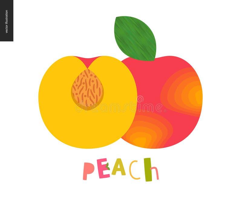 食物样式,果子,桃子 向量例证