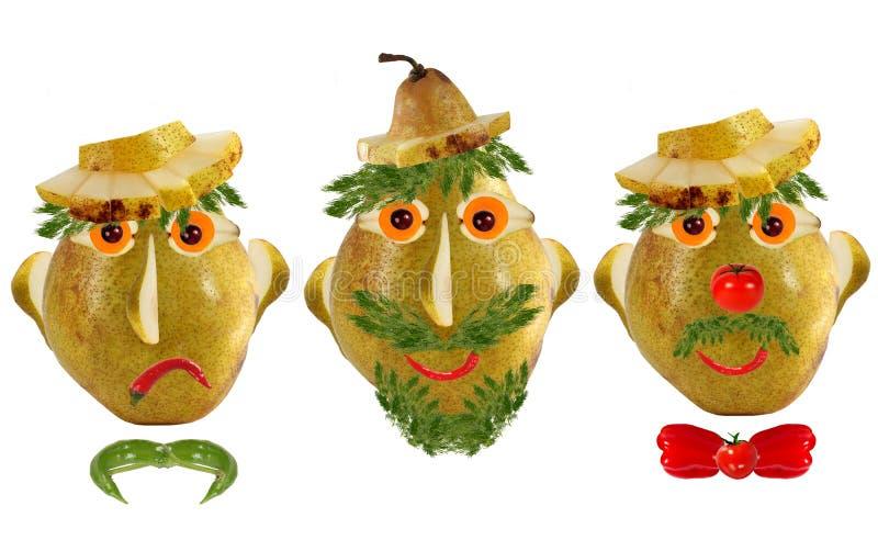 食物概念的创新集 鲜有蔬菜和水果的有趣肖像 免版税库存照片