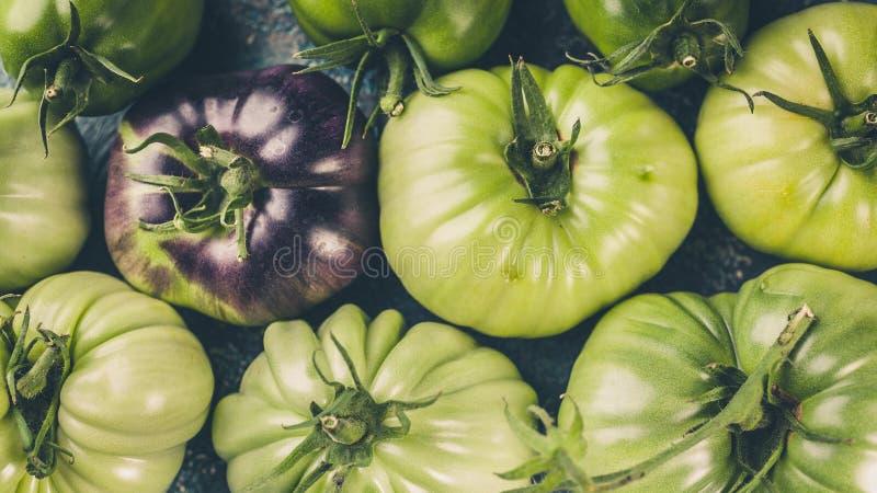 食物横幅绿色在蓝色具体背景的蕃茄特写镜头 r 免版税库存图片