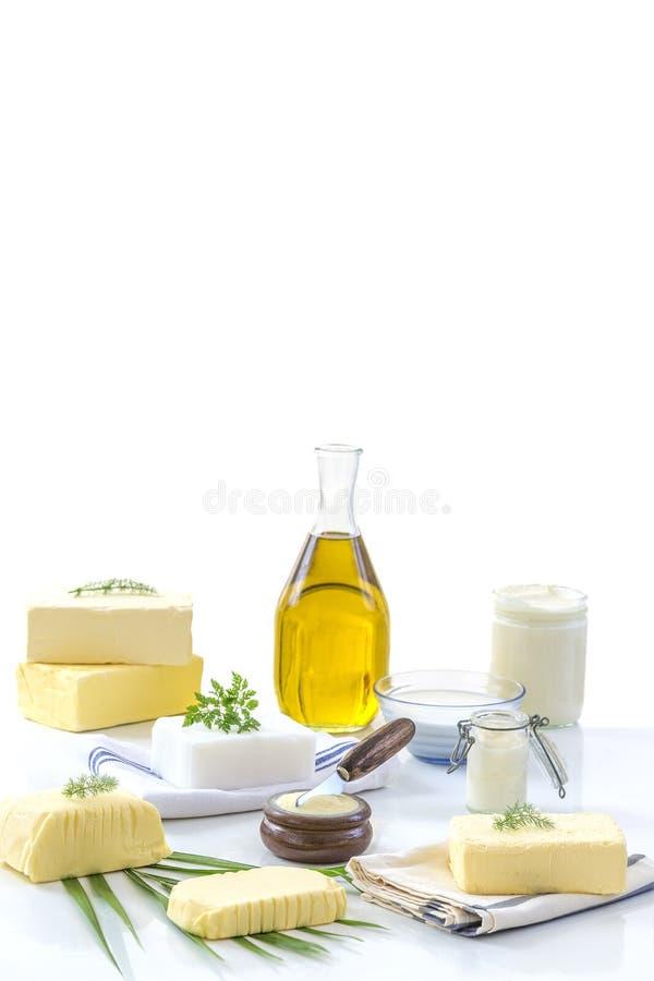 食物油脂和油:套乳制品和油和脂肪在白色背景 免版税库存照片