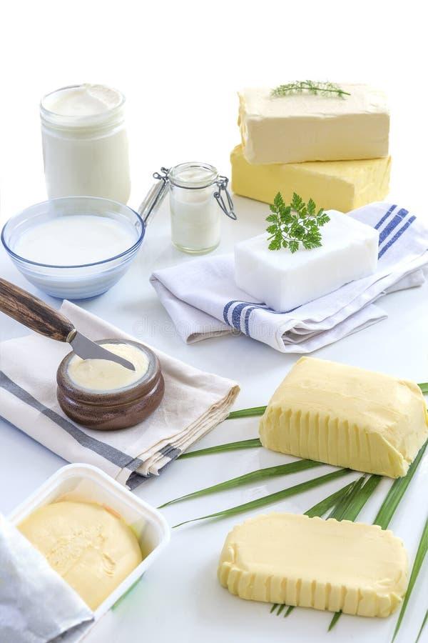食物油脂和油:套乳制品和油和脂肪在白色背景 免版税图库摄影