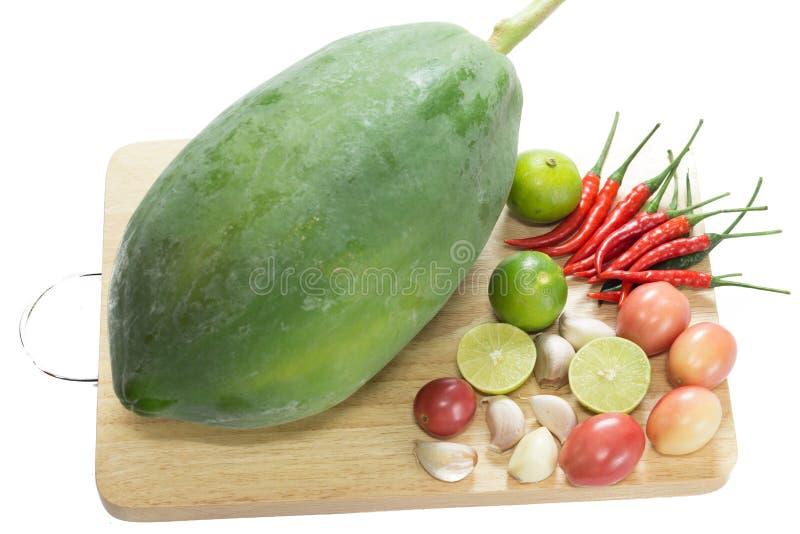 食物泰国番木瓜的沙拉 库存照片