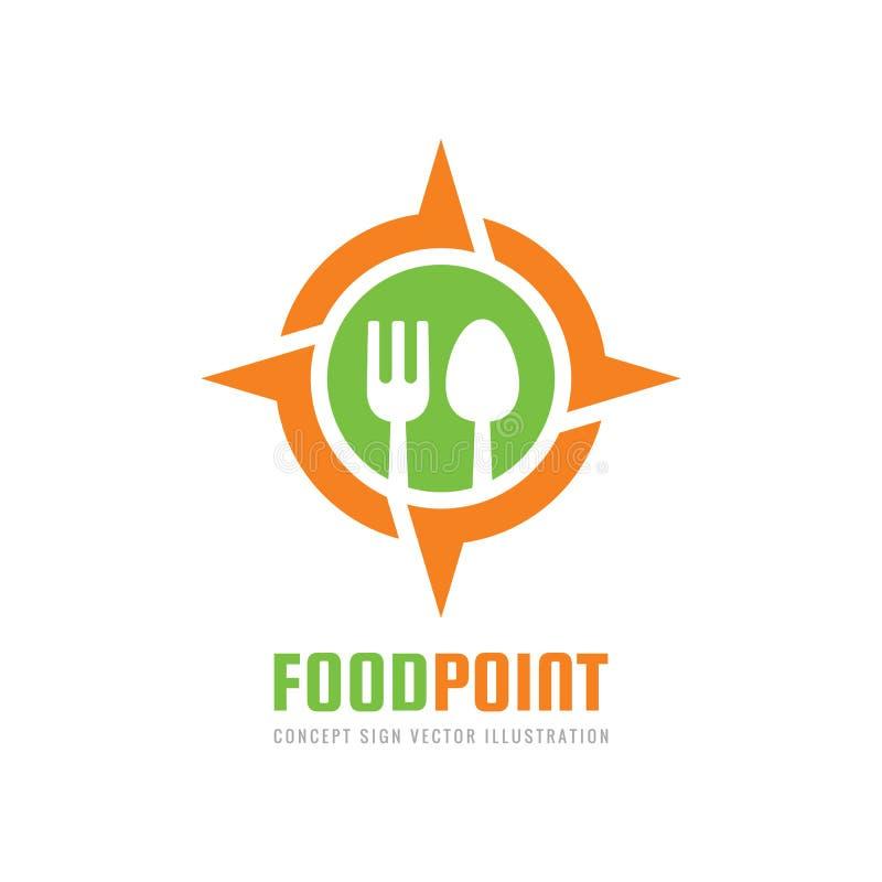 食物点-传染媒介商标模板在平的样式的概念例证 匙子,在玫瑰色风标志的叉子   库存例证