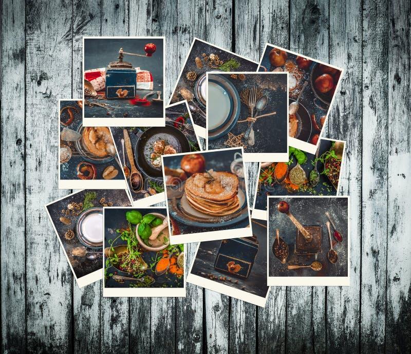 食物照片的汇集在一个减速火箭的样式的 库存图片