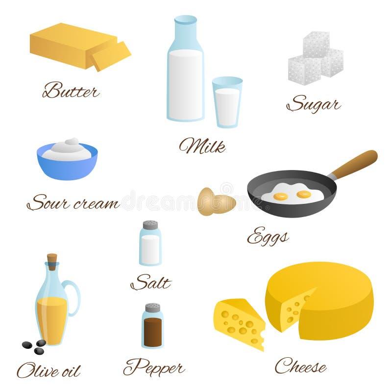 食物牛奶蛋黄油乳酪橄榄油酸性稀奶油盐胡椒糖集合例证 皇族释放例证