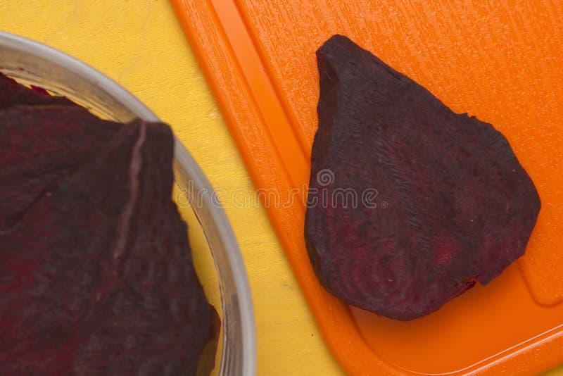 食物甜菜的段烹调的 库存照片