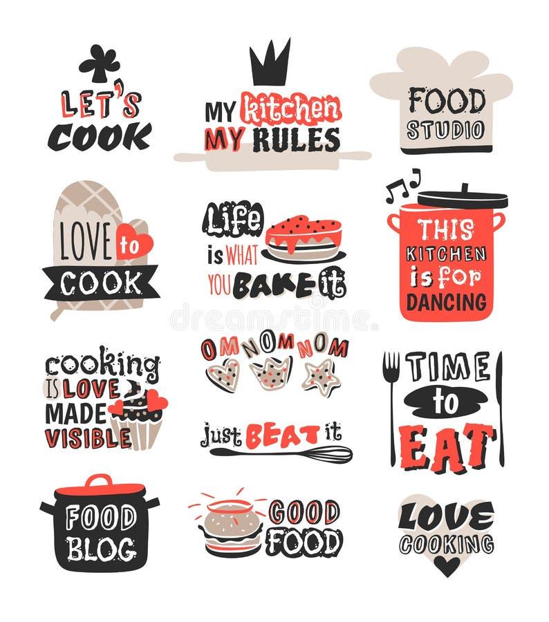 食物略写法餐馆烹调文本词组徽章元素标签象和手拉的邮票的葡萄酒设计减速火箭 向量例证