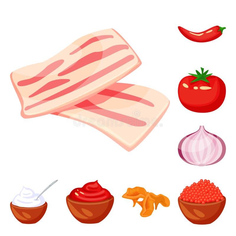 食物的传染媒介例证和味道签字 食物和成份股票传染媒介例证的汇集 库存例证