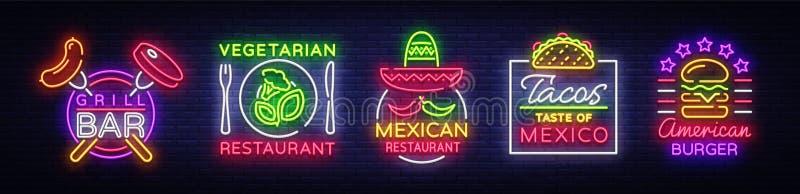 食物的明亮的霓虹标志 汇集设计元素,食物的,格栅酒吧,素食食物霓虹灯广告,墨西哥 向量例证
