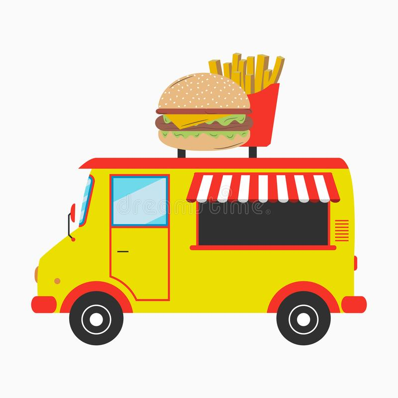 食物移动桃红色供营商 有牌的快餐搬运车以汉堡和炸薯条的形式 也corel凹道例证向量 库存例证