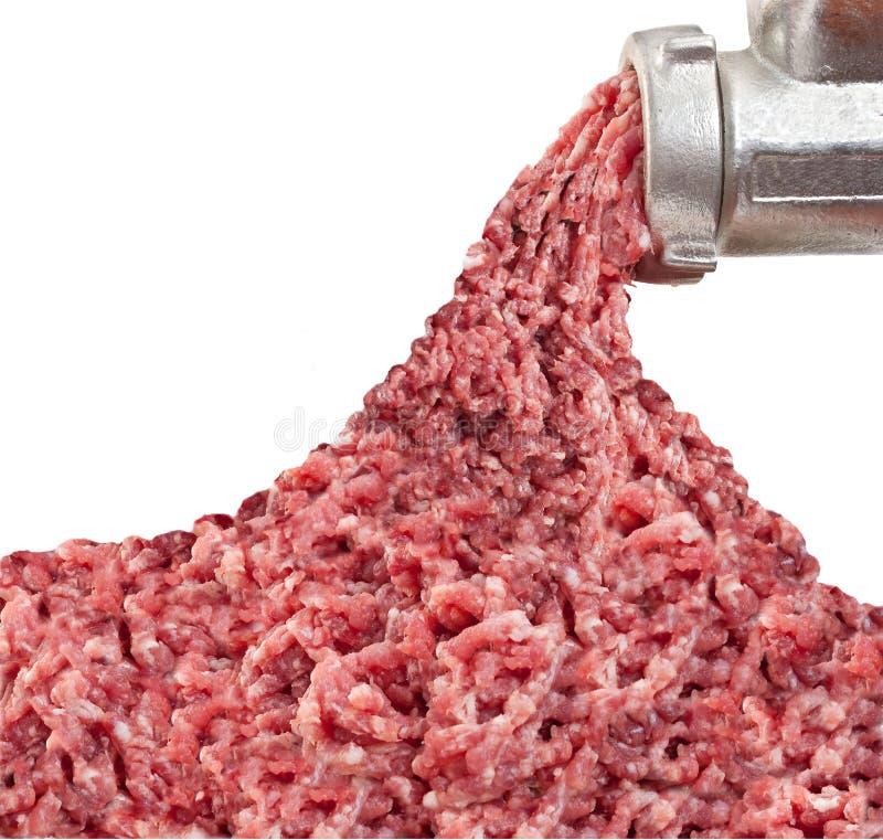 食物绞碎机和堆切好的肉 库存照片