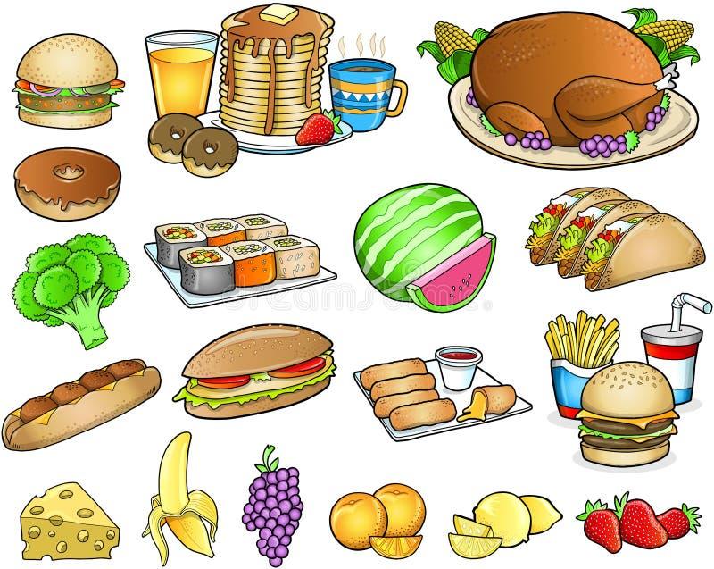 食物膳食饮料集合 库存例证