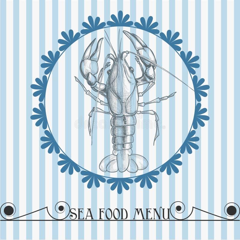 食物菜单海运 向量例证