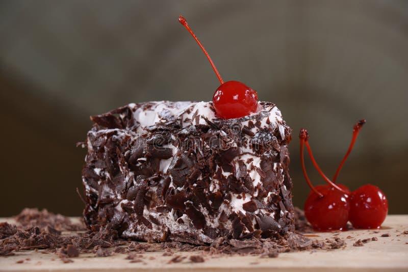 食物蛋糕巧克力准备好在黑暗的样式蛋糕巧克力的服务的蛋糕巧克力用好可可粉和神色 库存图片