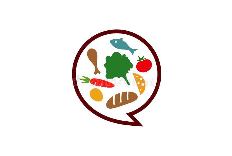 食物谈话商标 向量例证