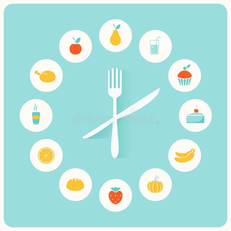 食物象Infographic时钟 平的设计 健身、饮食和卡路里逆概念 库存例证