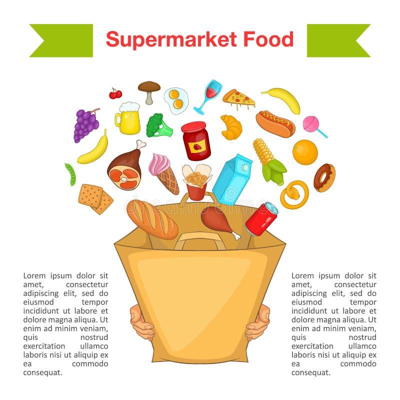 食物超级市场袋子概念,动画片样式 向量例证