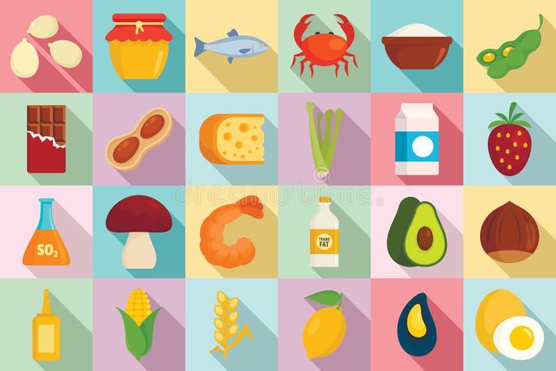 食物过敏象集合,平的样式 库存例证