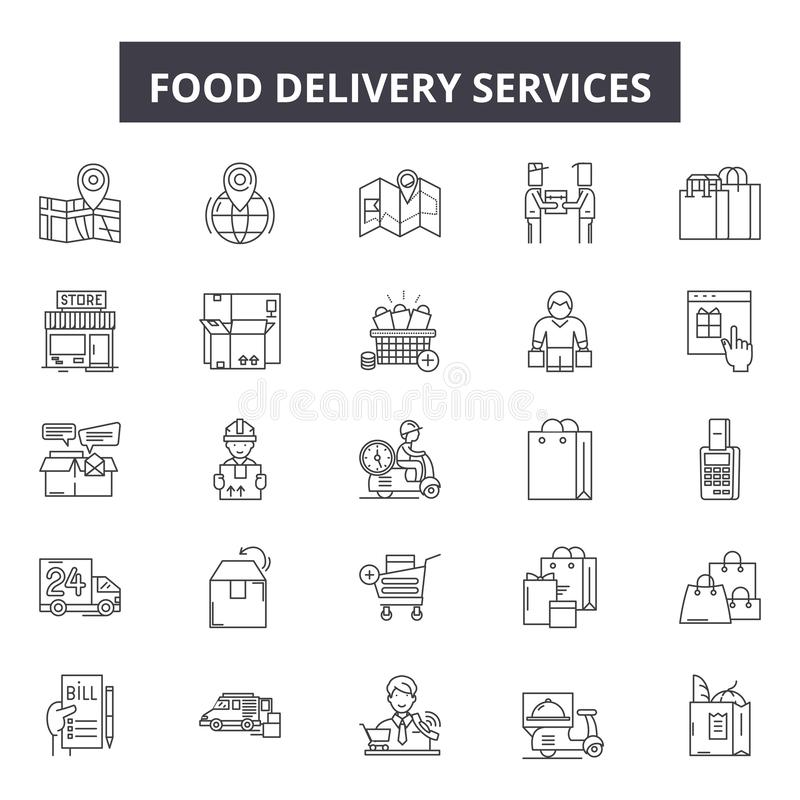 食物送货服务用户线路象,标志,传染媒介集合,概述例证概念 皇族释放例证