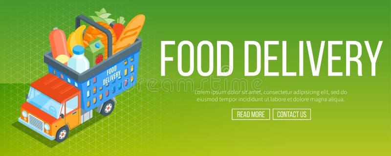 食物送货业务横幅 向量例证