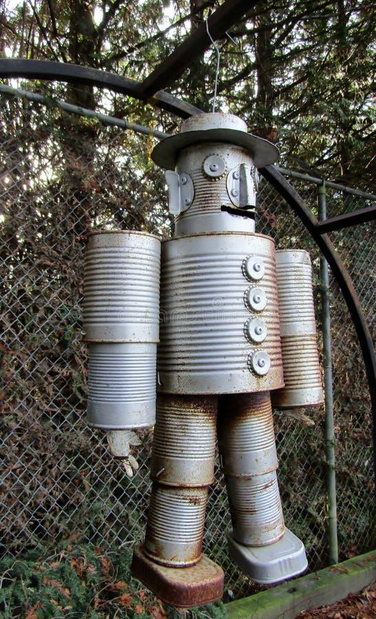 食物锡罐机器人 免版税库存照片