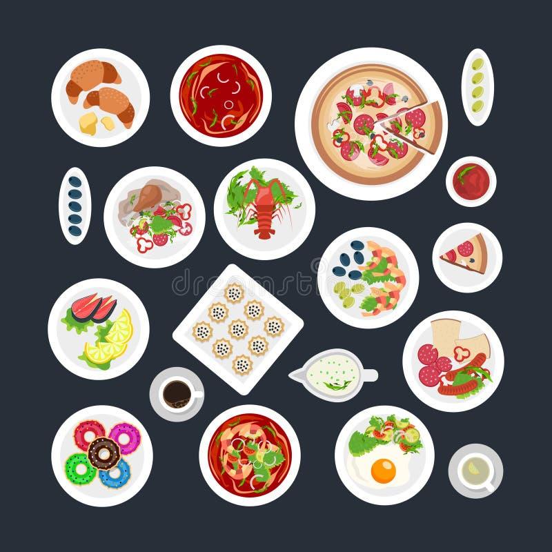 食物集合顶视图 库存例证