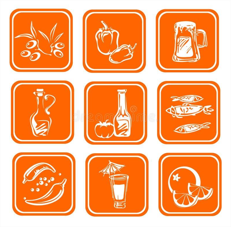 食物风格化符号 库存例证