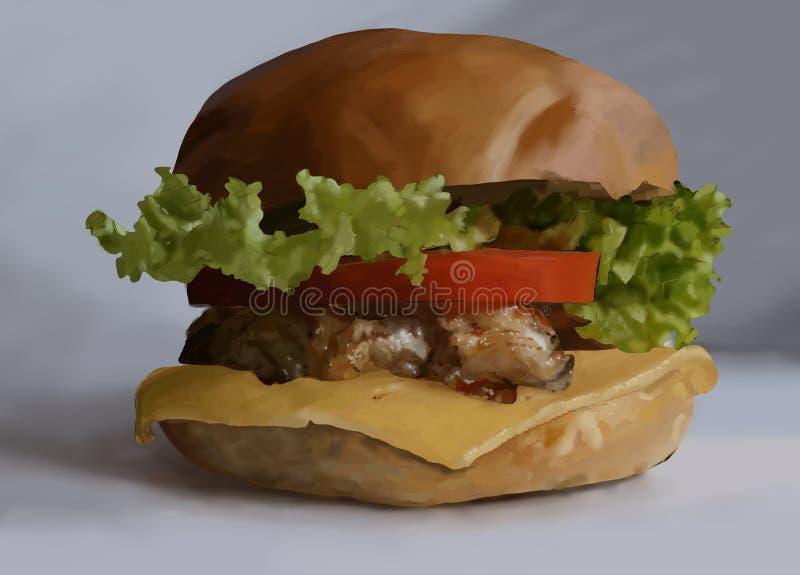 食物,快餐,汉堡,沙拉,鸡,牛排,乳酪,蕃茄 向量例证