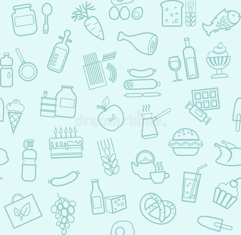 食物,无缝的样式,浅兰,等高,杂货店,传染媒介 向量例证