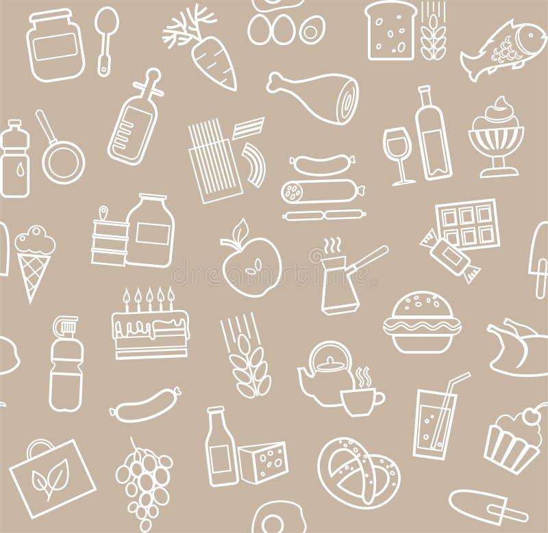 食物,无缝的样式,灰色,等高,杂货,传染媒介 皇族释放例证