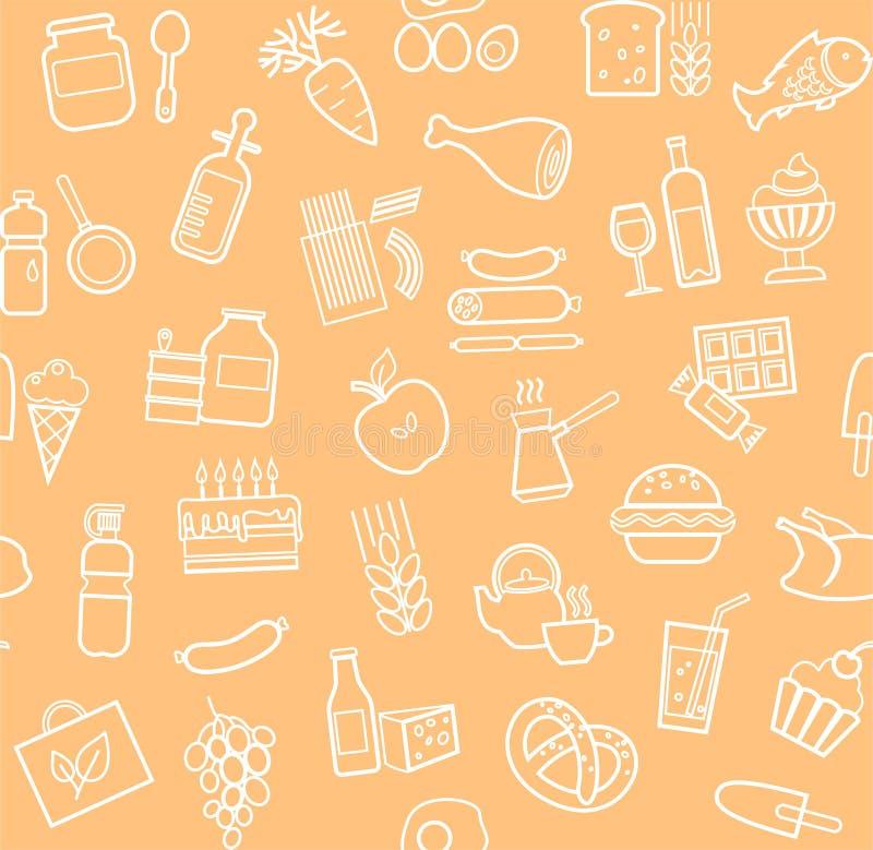食物,无缝的样式,等高,杂货店,传染媒介 库存例证
