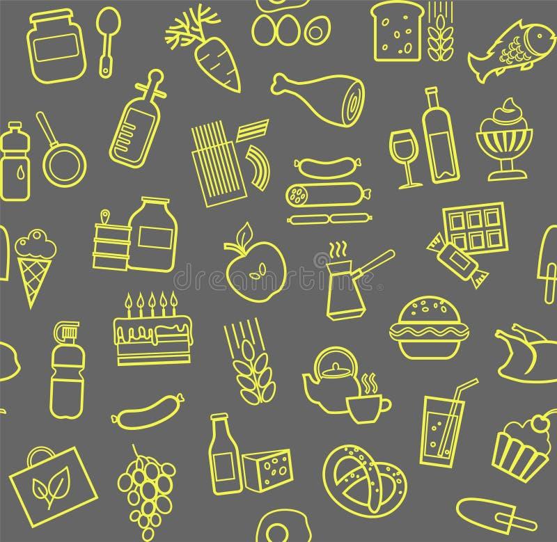 食物,无缝的样式,等高,灰色黄色,杂货店,传染媒介 库存例证