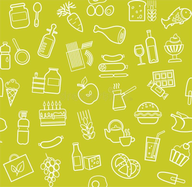 食物,无缝的样式,绿色,等高,杂货,传染媒介 皇族释放例证