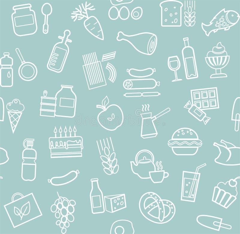 食物,无缝的样式,蓝色,等高,杂货,传染媒介 向量例证