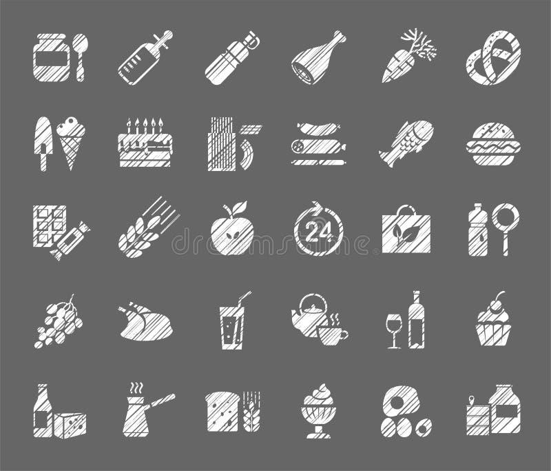 食物,白色象,杂货店,铅笔阴影,传染媒介 库存例证
