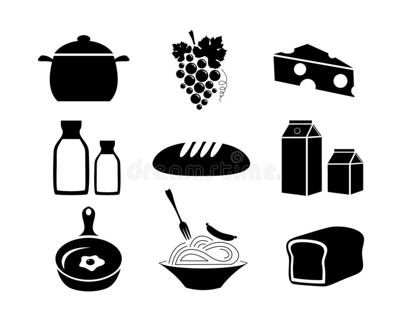 食物 副食品 被设置的图标 在白色背景隔绝的传染媒介储蓄例证 向量例证