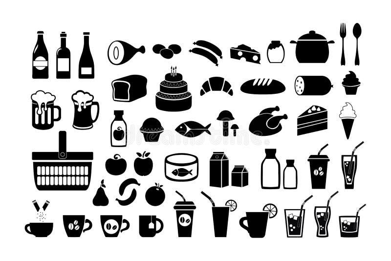 食物 副食品 被设置的图标 在白色背景隔绝的传染媒介储蓄例证 库存例证