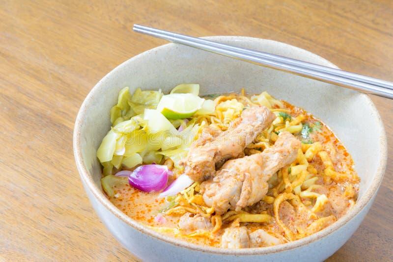 食物khao泰国面条的soi 免版税图库摄影