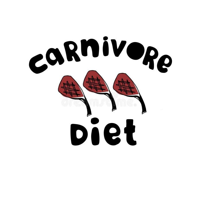 食肉动物饮食商标 全肉饮食概念 在上写字和手拉的烤放在架子上的羊羔 向量例证