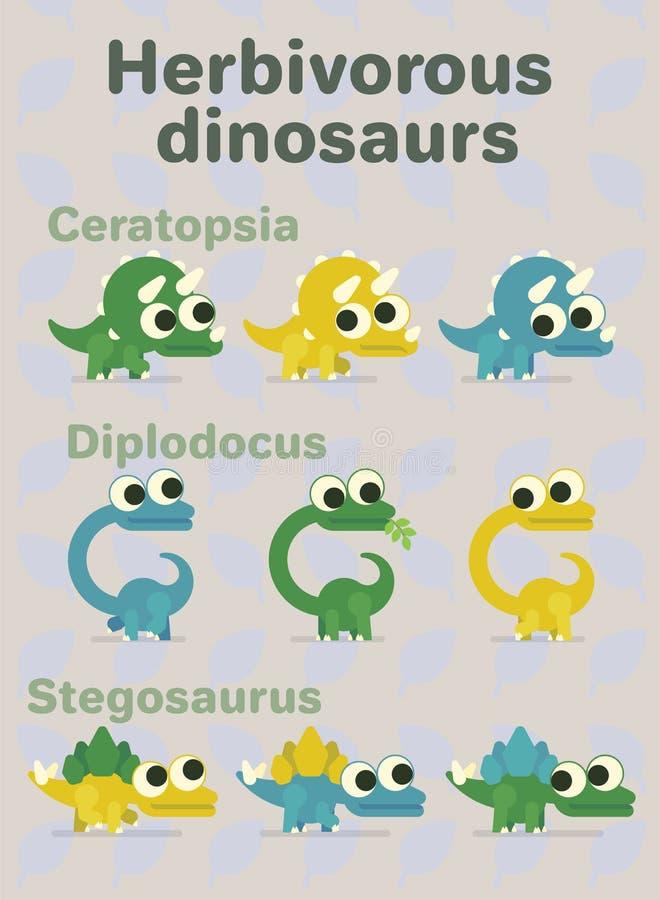 食草的恐龙 史前字符的传染媒介例证在平的动画片样式的在中立背景 皇族释放例证
