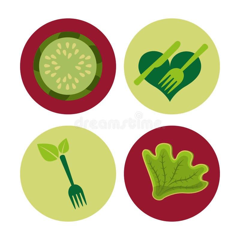 素食菜单健康食物 皇族释放例证