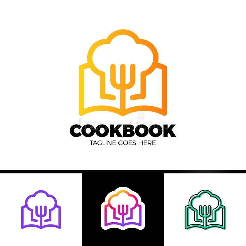 食谱书商标在概述样式传染媒介设计的模板设计 皇族释放例证