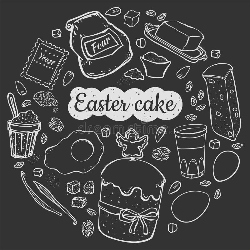 食谱在黑色的复活节蛋糕 库存例证