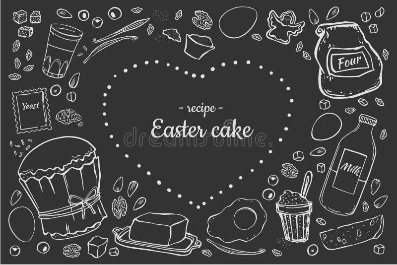 食谱复活节蛋糕 库存例证