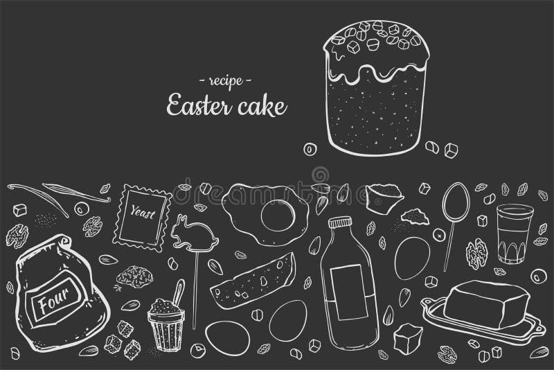 食谱复活节蛋糕 向量例证
