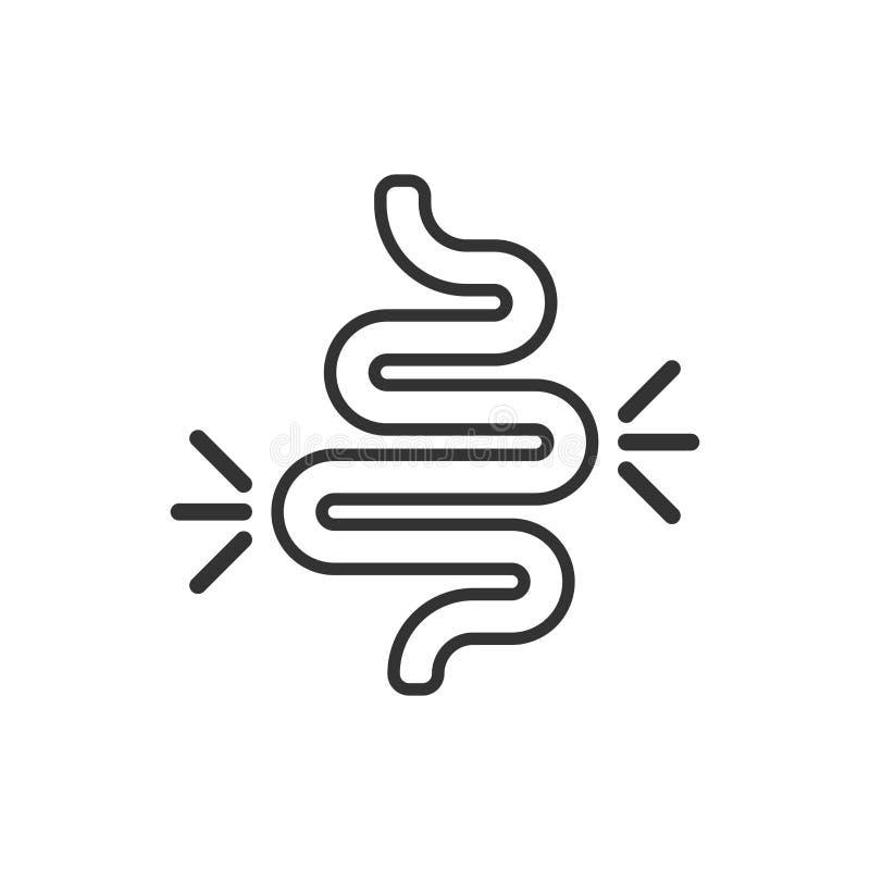 食道在平的样式的便秘象 大肠炎在白色被隔绝的背景的传染媒介例证 胃企业概念 皇族释放例证