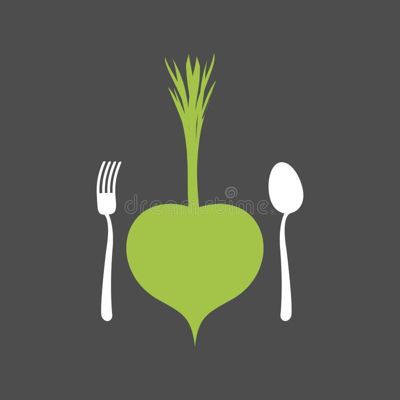 素食食物商标 菜和利器 叉子和匙子和 皇族释放例证
