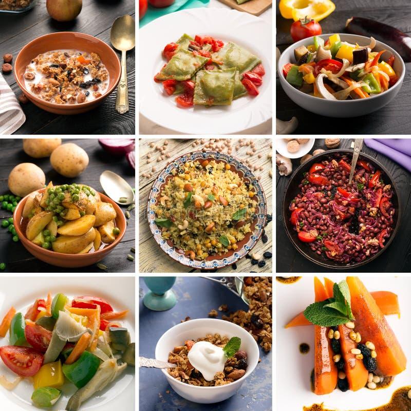 素食食物照片拼贴画  库存图片
